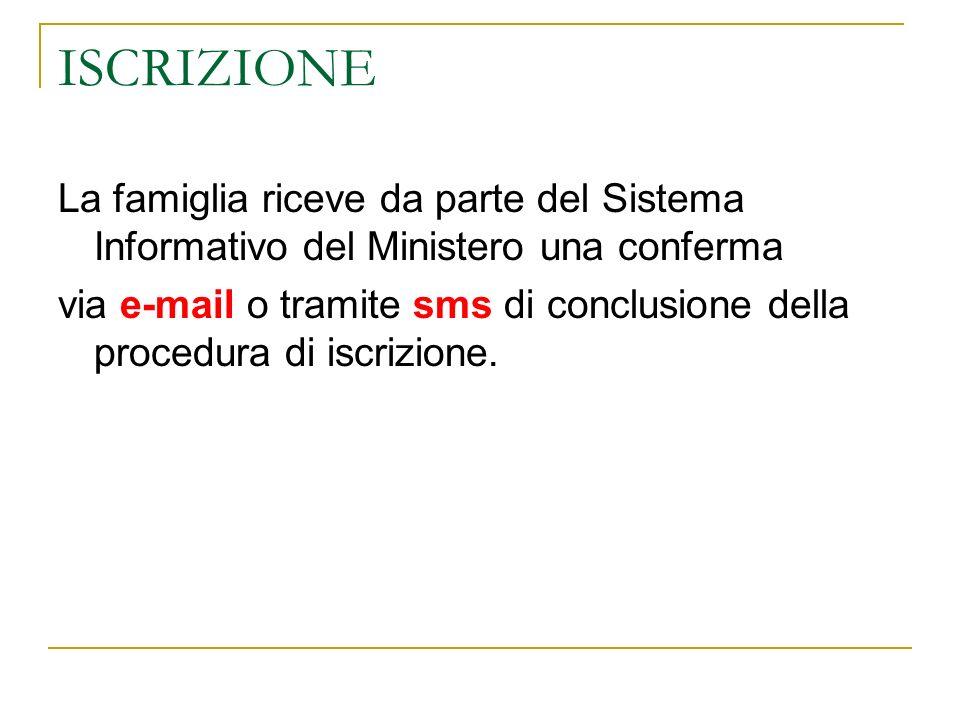 ISCRIZIONE La famiglia riceve da parte del Sistema Informativo del Ministero una conferma via e-mail o tramite sms di conclusione della procedura di iscrizione.