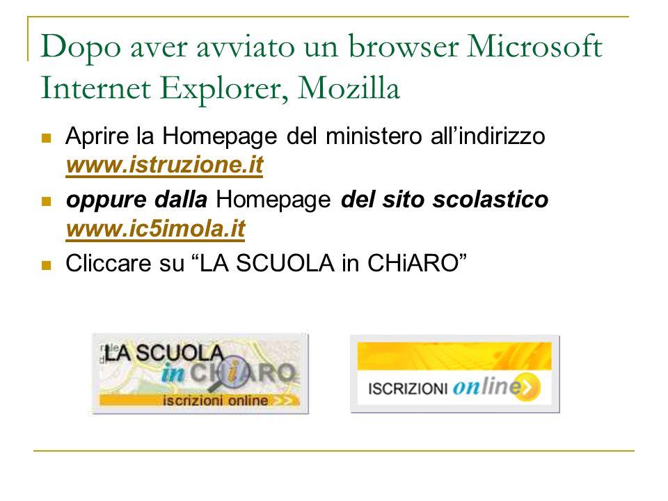 Dopo aver avviato un browser Microsoft Internet Explorer, Mozilla Aprire la Homepage del ministero allindirizzo www.istruzione.it www.istruzione.it oppure dalla Homepage del sito scolastico www.ic5imola.it www.ic5imola.it Cliccare su LA SCUOLA in CHiARO