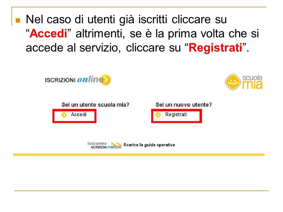 Nel caso di utenti già iscritti cliccare suAccedi altrimenti, se è la prima volta che si accede al servizio, cliccare su Registrati.