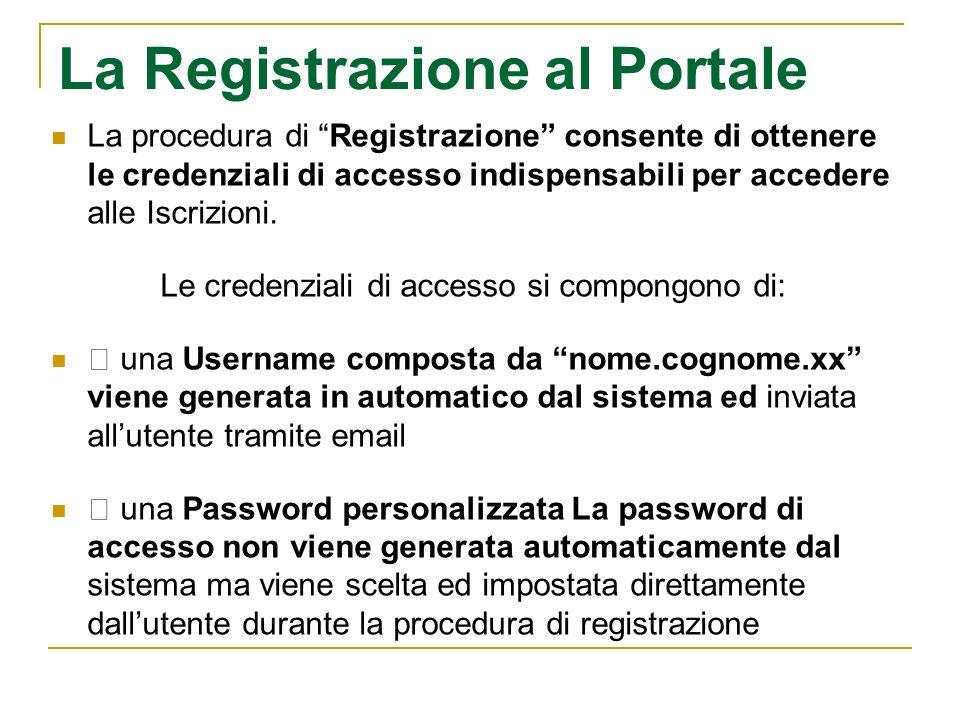 La Registrazione al Portale La procedura di Registrazione consente di ottenere le credenziali di accesso indispensabili per accedere alle Iscrizioni.