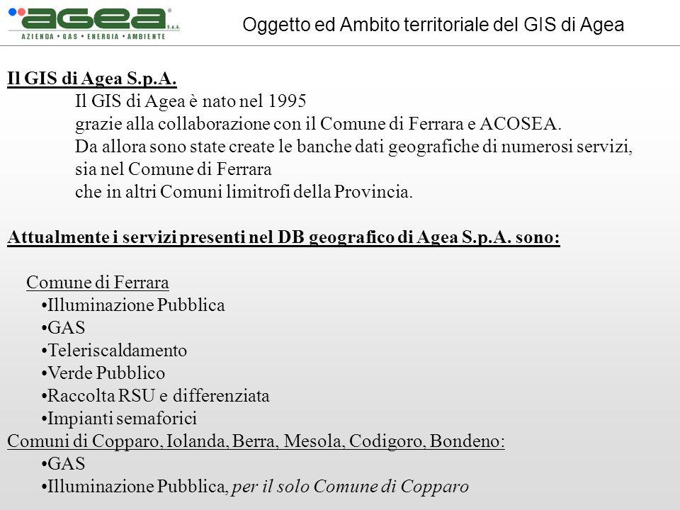 Il GIS di Agea S.p.A. Il GIS di Agea è nato nel 1995 grazie alla collaborazione con il Comune di Ferrara e ACOSEA. Da allora sono state create le banc