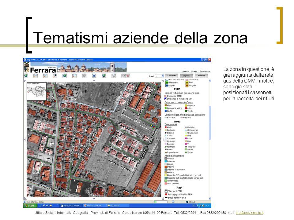 Tematismi aziende della zona Ufficio Sistemi Informativi Geografici - Provincia di Ferrara - Corso Isonzo 105/a 44100 Ferrara Tel. 0532/299411 Fax 053