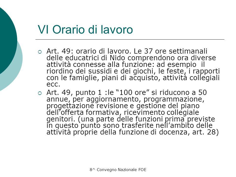 8^ Convegno Nazionale FOE VI Orario di lavoro Art.
