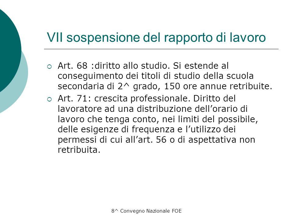 8^ Convegno Nazionale FOE VII sospensione del rapporto di lavoro Art.