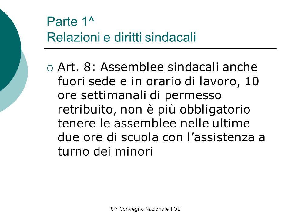 8^ Convegno Nazionale FOE Parte 1^ Relazioni e diritti sindacali Art.