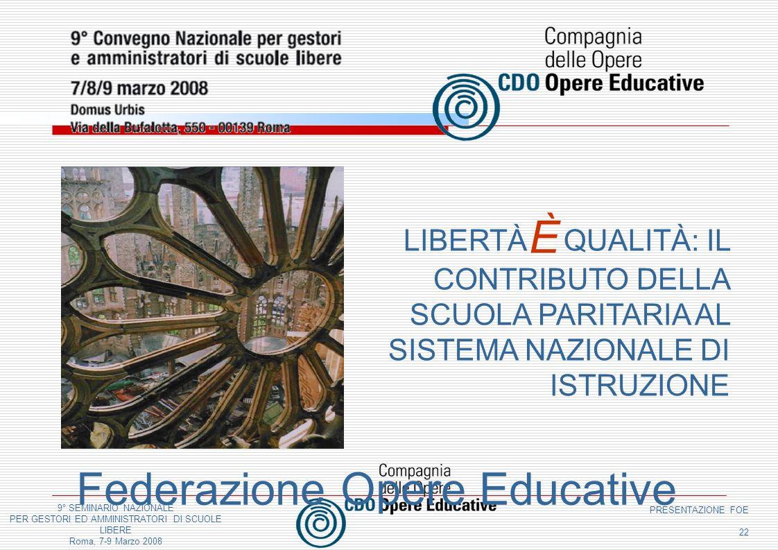 9° SEMINARIO NAZIONALE PER GESTORI ED AMMINISTRATORI DI SCUOLE LIBERE Roma, 7-9 Marzo 2008 PRESENTAZIONE FOE 22 Federazione Opere Educative LIBERTÀ QU