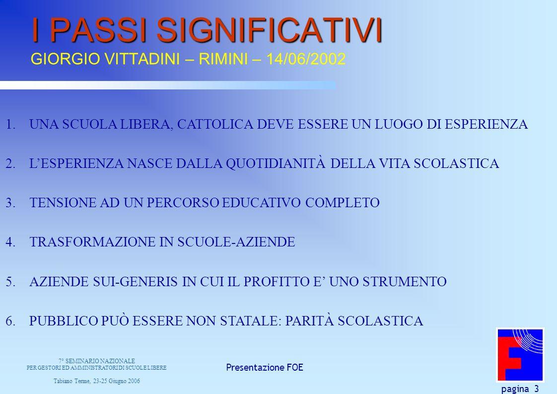 Presentazione FOE pagina 3 I PASSI SIGNIFICATIVI I PASSI SIGNIFICATIVI GIORGIO VITTADINI – RIMINI – 14/06/2002 1.UNA SCUOLA LIBERA, CATTOLICA DEVE ESSERE UN LUOGO DI ESPERIENZA 2.LESPERIENZA NASCE DALLA QUOTIDIANITÀ DELLA VITA SCOLASTICA 3.TENSIONE AD UN PERCORSO EDUCATIVO COMPLETO 4.TRASFORMAZIONE IN SCUOLE-AZIENDE 5.AZIENDE SUI-GENERIS IN CUI IL PROFITTO E UNO STRUMENTO 6.PUBBLICO PUÒ ESSERE NON STATALE: PARITÀ SCOLASTICA 7° SEMINARIO NAZIONALE PER GESTORI ED AMMINISTRATORI DI SCUOLE LIBERE Tabiano Terme, 23-25 Giugno 2006
