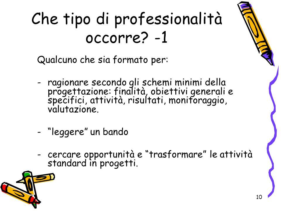 10 Che tipo di professionalità occorre.