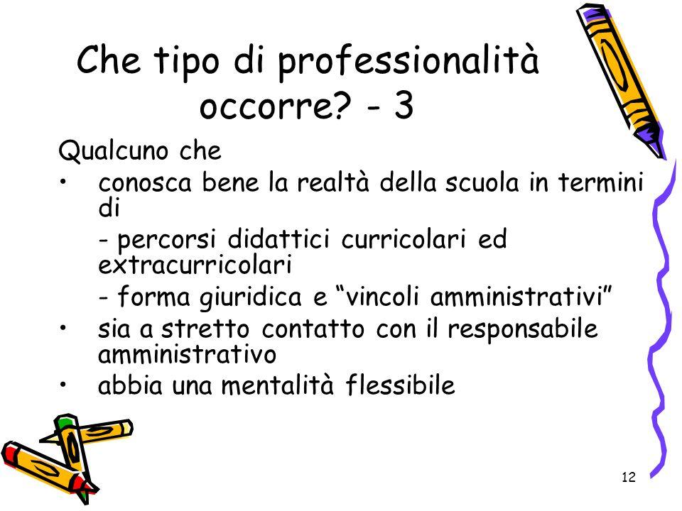 12 Che tipo di professionalità occorre.
