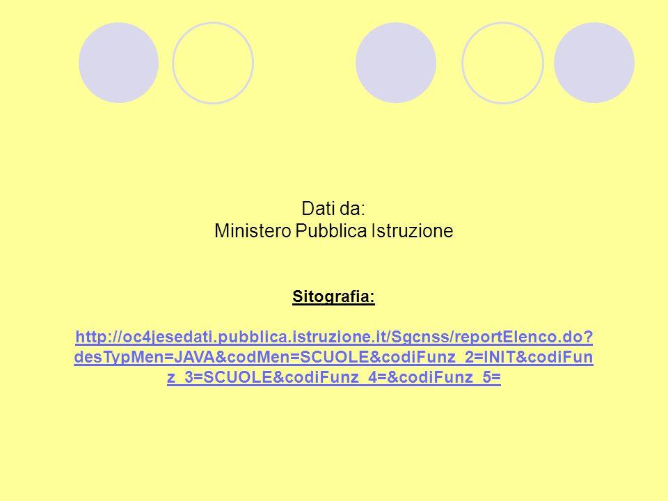 Dati da: Ministero Pubblica Istruzione Sitografia: http://oc4jesedati.pubblica.istruzione.it/Sgcnss/reportElenco.do.