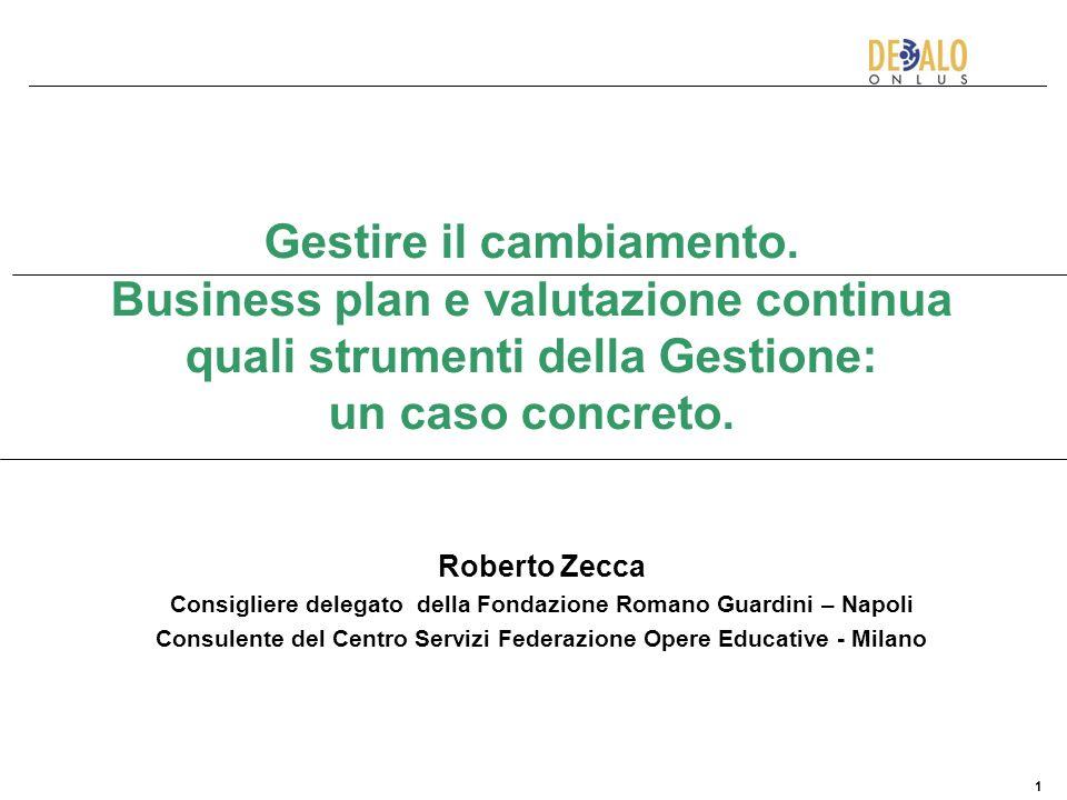 1 Gestire il cambiamento. Business plan e valutazione continua quali strumenti della Gestione: un caso concreto. Roberto Zecca Consigliere delegato de