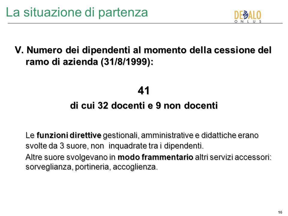 16 La situazione di partenza V. Numero dei dipendenti al momento della cessione del ramo di azienda (31/8/1999): 41 di cui 32 docenti e 9 non docenti