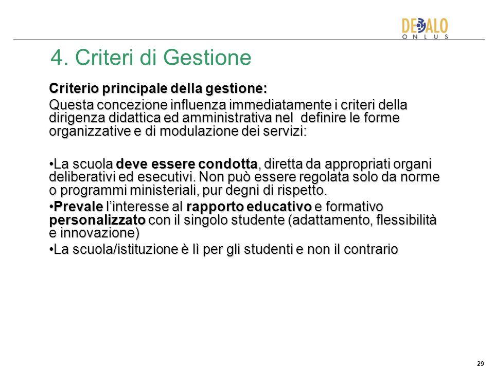 29 4. Criteri di Gestione Criterio principale della gestione: Questa concezione influenza immediatamente i criteri della dirigenza didattica ed ammini