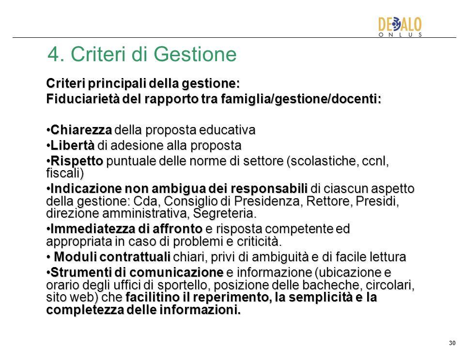 30 4. Criteri di Gestione Criteri principali della gestione: Fiduciarietà del rapporto tra famiglia/gestione/docenti: Chiarezza della proposta educati