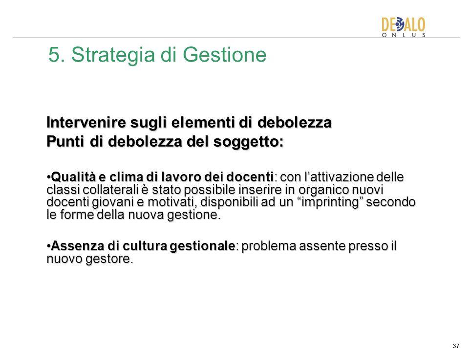37 5. Strategia di Gestione Intervenire sugli elementi di debolezza Punti di debolezza del soggetto: Qualità e clima di lavoro dei docenti: con lattiv