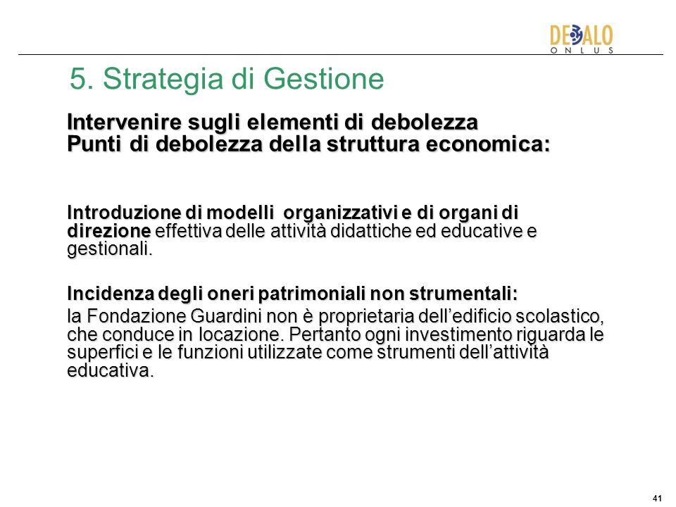 41 5. Strategia di Gestione Intervenire sugli elementi di debolezza Punti di debolezza della struttura economica: Introduzione di modelli organizzativ