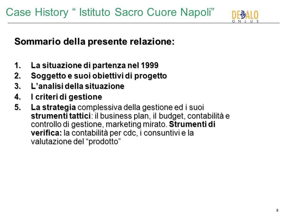 8 Case History Istituto Sacro Cuore Napoli Sommario della presente relazione: 1.La situazione di partenza nel 1999 2.Soggetto e suoi obiettivi di prog
