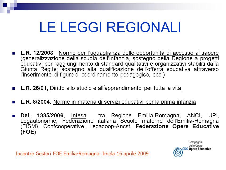 LE LEGGI REGIONALI L.R. 12/2003, Norme per luguaglianza delle opportunità di accesso al sapere (generalizzazione della scuola dellinfanzia, sostegno d