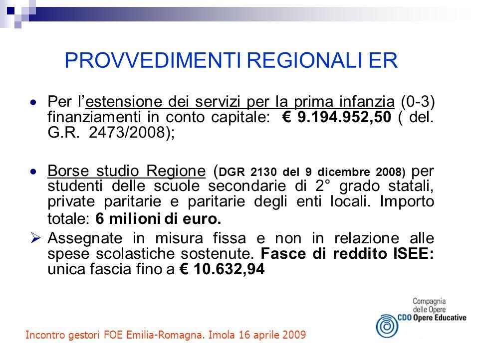 PROVVEDIMENTI REGIONALI ER Per lestensione dei servizi per la prima infanzia (0-3) finanziamenti in conto capitale: 9.194.952,50 ( del. G.R. 2473/2008