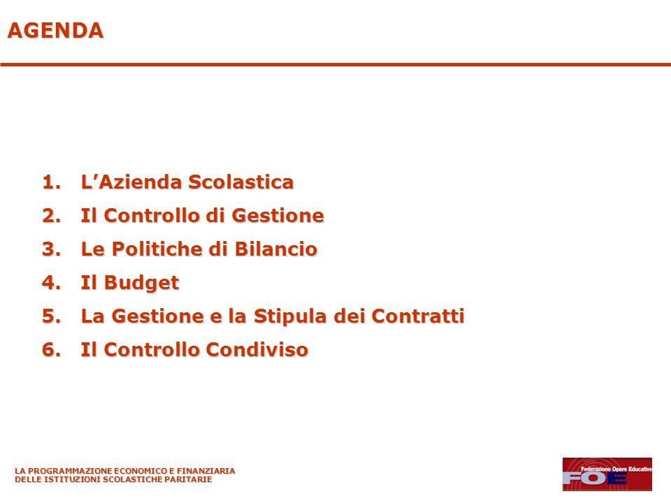 AGENDA 1.LAzienda Scolastica 2.Il Controllo di Gestione 3.Le Politiche di Bilancio 4.Il Budget 5.La Gestione e la Stipula dei Contratti 6.Il Controllo