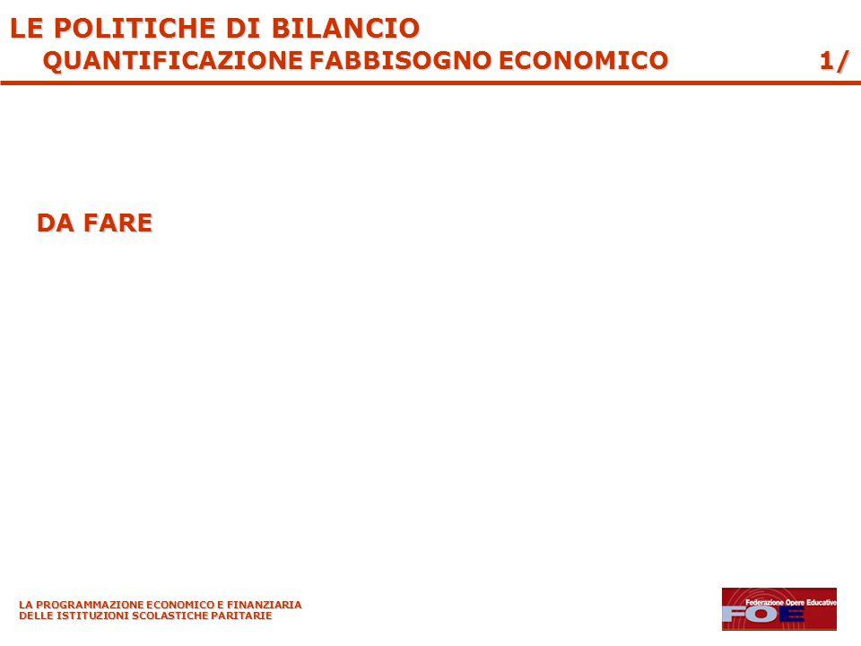 LA PROGRAMMAZIONE ECONOMICO E FINANZIARIA DELLE ISTITUZIONI SCOLASTICHE PARITARIE DA FARE 1/ LE POLITICHE DI BILANCIO QUANTIFICAZIONE FABBISOGNO ECONOMICO
