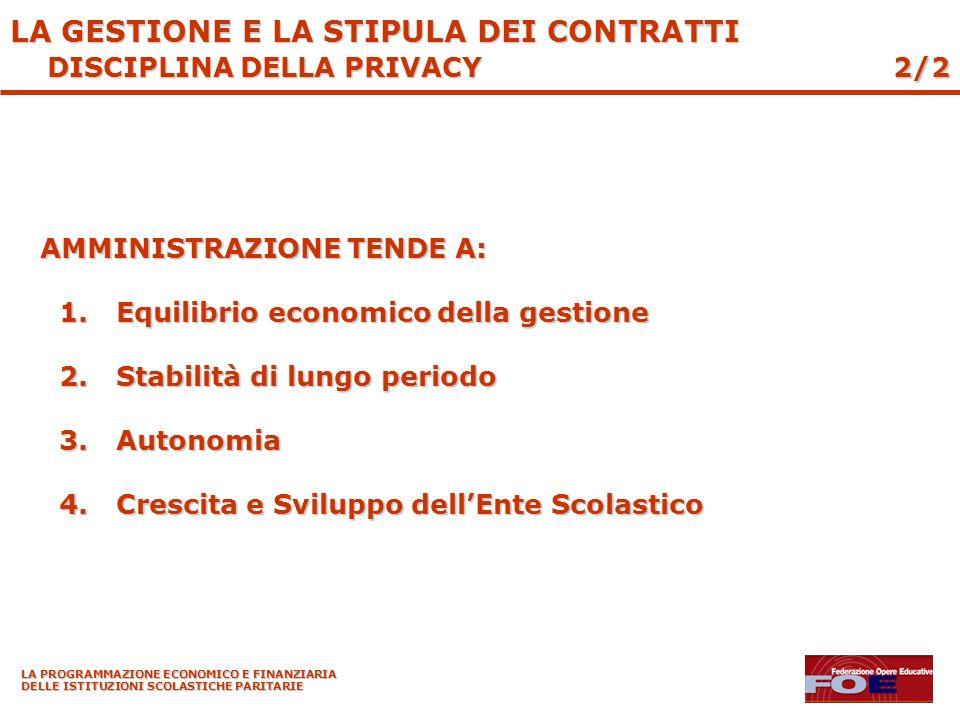 LA PROGRAMMAZIONE ECONOMICO E FINANZIARIA DELLE ISTITUZIONI SCOLASTICHE PARITARIE AMMINISTRAZIONE TENDE A: 1.Equilibrio economico della gestione 2.Stabilità di lungo periodo 3.Autonomia 4.Crescita e Sviluppo dellEnte Scolastico 2/2 LA GESTIONE E LA STIPULA DEI CONTRATTI DISCIPLINA DELLA PRIVACY
