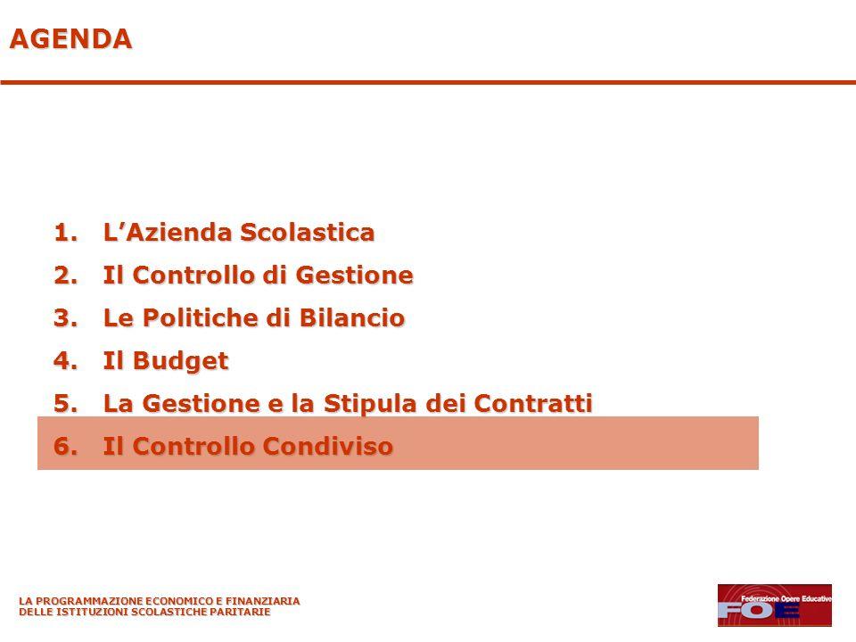 LA PROGRAMMAZIONE ECONOMICO E FINANZIARIA DELLE ISTITUZIONI SCOLASTICHE PARITARIE AGENDA 1.LAzienda Scolastica 2.Il Controllo di Gestione 3.Le Politic