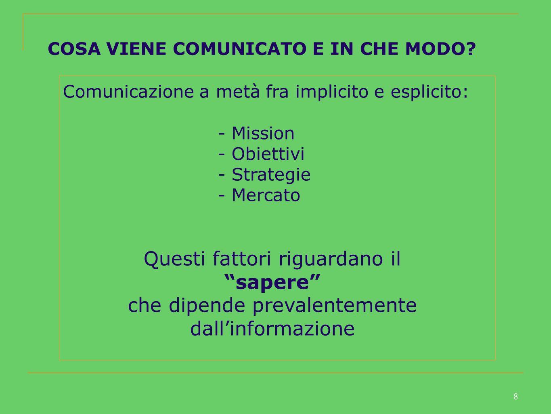 8 COSA VIENE COMUNICATO E IN CHE MODO.