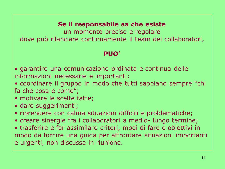 11 Se il responsabile sa che esiste un momento preciso e regolare dove può rilanciare continuamente il team dei collaboratori, PUO garantire una comun