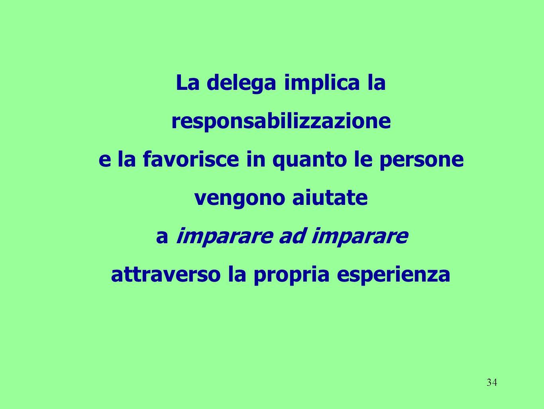 34 La delega implica la responsabilizzazione e la favorisce in quanto le persone vengono aiutate a imparare ad imparare attraverso la propria esperien