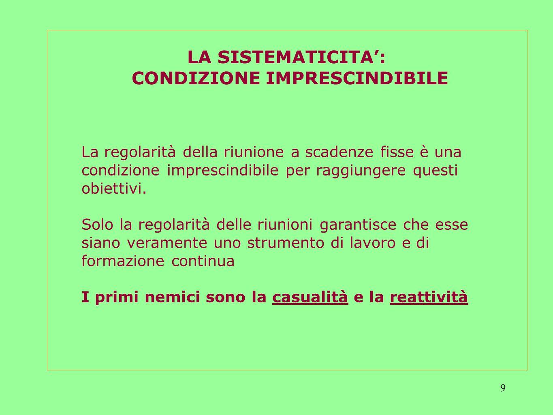 9 LA SISTEMATICITA: CONDIZIONE IMPRESCINDIBILE La regolarità della riunione a scadenze fisse è una condizione imprescindibile per raggiungere questi obiettivi.