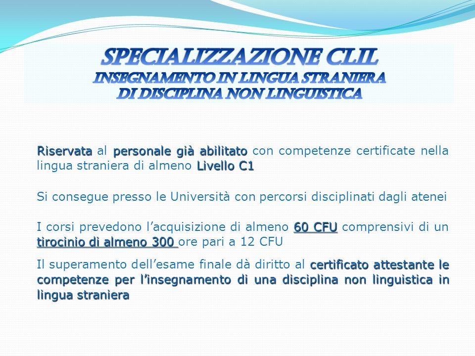 Riservatapersonale già abilitato Livello C1 Riservata al personale già abilitato con competenze certificate nella lingua straniera di almeno Livello C