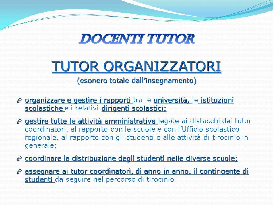 TUTOR ORGANIZZATORI (esonero totale dallinsegnamento) organizzare e gestire i rapporti università, istituzioni scolastiche dirigenti scolastici; organ