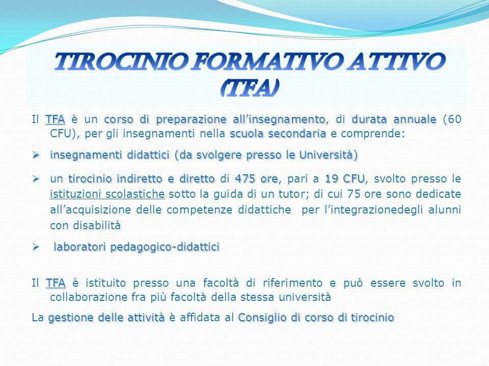 TFAcorso di preparazione allinsegnamentodurata annuale scuola secondaria Il TFA è un corso di preparazione allinsegnamento, di durata annuale (60 CFU)