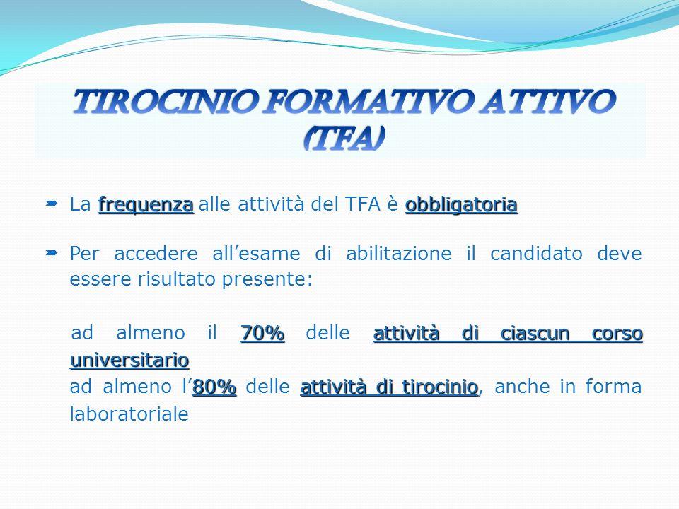 frequenzaobbligatoria La frequenza alle attività del TFA è obbligatoria Per accedere allesame di abilitazione il candidato deve essere risultato prese