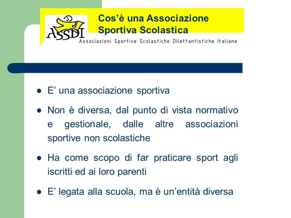E una associazione sportiva Non è diversa, dal punto di vista normativo e gestionale, dalle altre associazioni sportive non scolastiche Ha come scopo