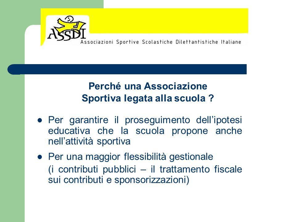 Per garantire il proseguimento dellipotesi educativa che la scuola propone anche nellattività sportiva Per una maggior flessibilità gestionale (i cont