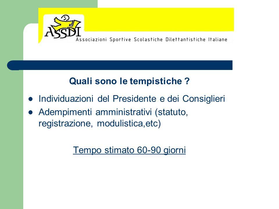Individuazioni del Presidente e dei Consiglieri Adempimenti amministrativi (statuto, registrazione, modulistica,etc) Tempo stimato 60-90 giorni Quali
