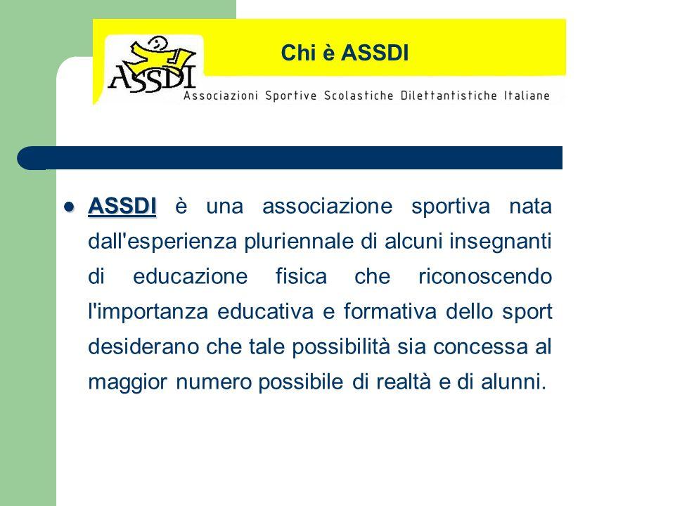 ASSDI ASSDI è una associazione sportiva nata dall'esperienza pluriennale di alcuni insegnanti di educazione fisica che riconoscendo l'importanza educa