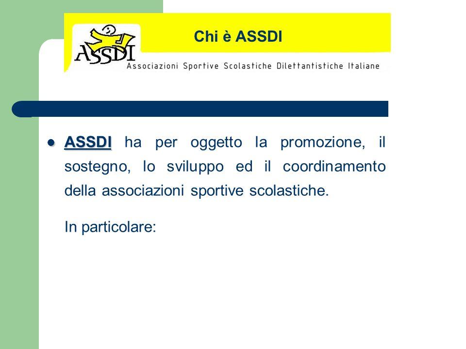 ASSDI ASSDI ha per oggetto la promozione, il sostegno, lo sviluppo ed il coordinamento della associazioni sportive scolastiche. In particolare: Chi è
