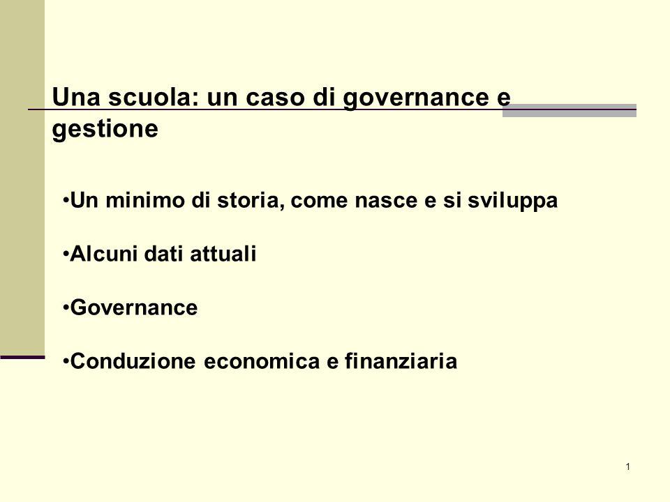 1 Una scuola: un caso di governance e gestione Un minimo di storia, come nasce e si sviluppa Alcuni dati attuali Governance Conduzione economica e finanziaria