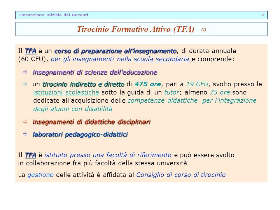 TFAcorso di preparazione allinsegnamento Il TFA è un corso di preparazione allinsegnamento, di durata annuale (60 CFU), per gli insegnamenti nella scu