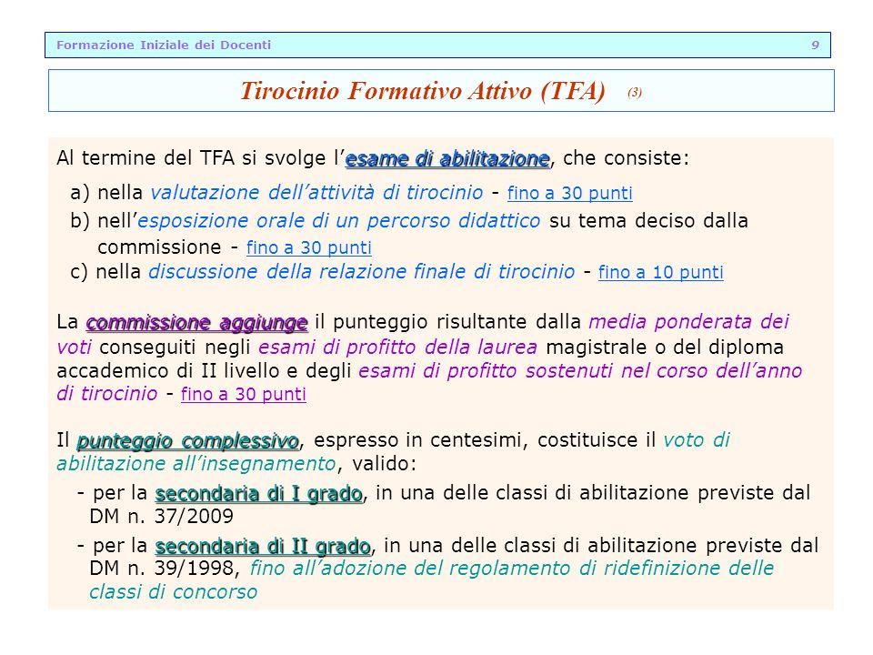 esame di abilitazione Al termine del TFA si svolge lesame di abilitazione, che consiste: a) nella valutazione dellattività di tirocinio - fino a 30 pu