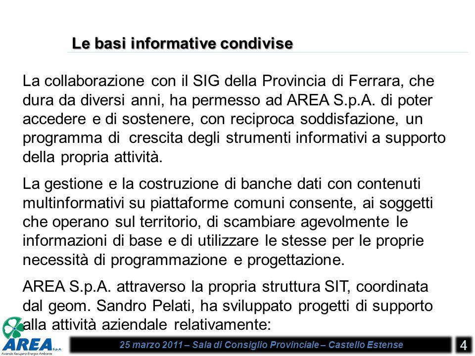 25 marzo 2011 – Sala di Consiglio Provinciale – Castello Estense 4 Le basi informative condivise La collaborazione con il SIG della Provincia di Ferrara, che dura da diversi anni, ha permesso ad AREA S.p.A.