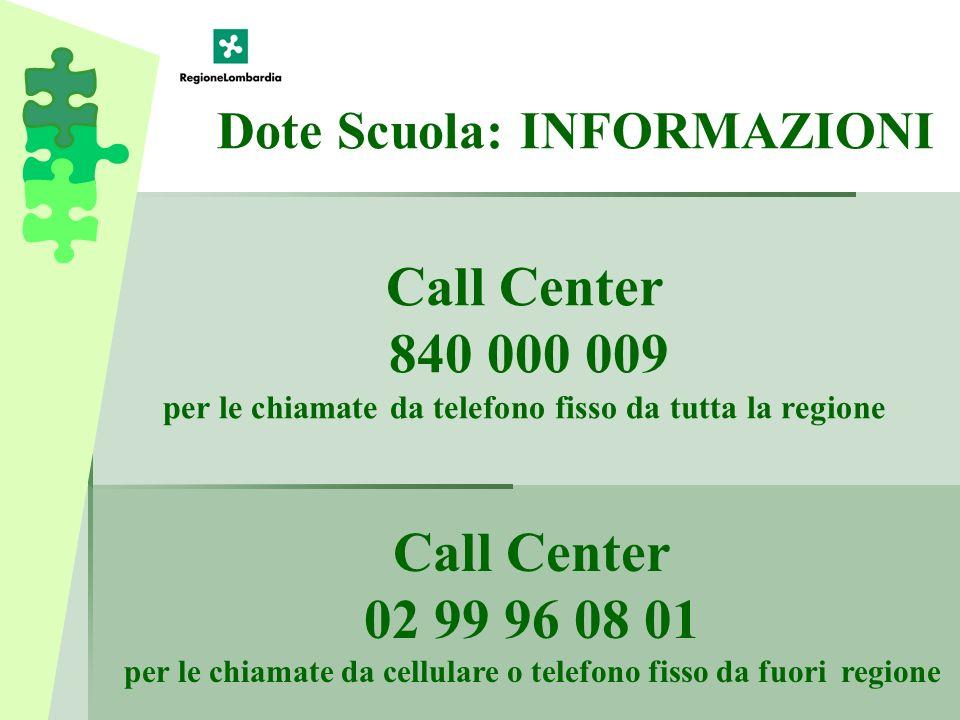 Call Center 840 000 009 per le chiamate da telefono fisso da tutta la regione Call Center 02 99 96 08 01 per le chiamate da cellulare o telefono fisso da fuori regione Dote Scuola: INFORMAZIONI