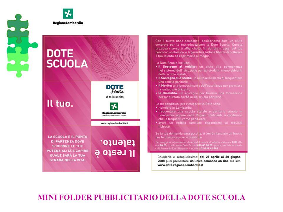 MINI FOLDER PUBBLICITARIO DELLA DOTE SCUOLA
