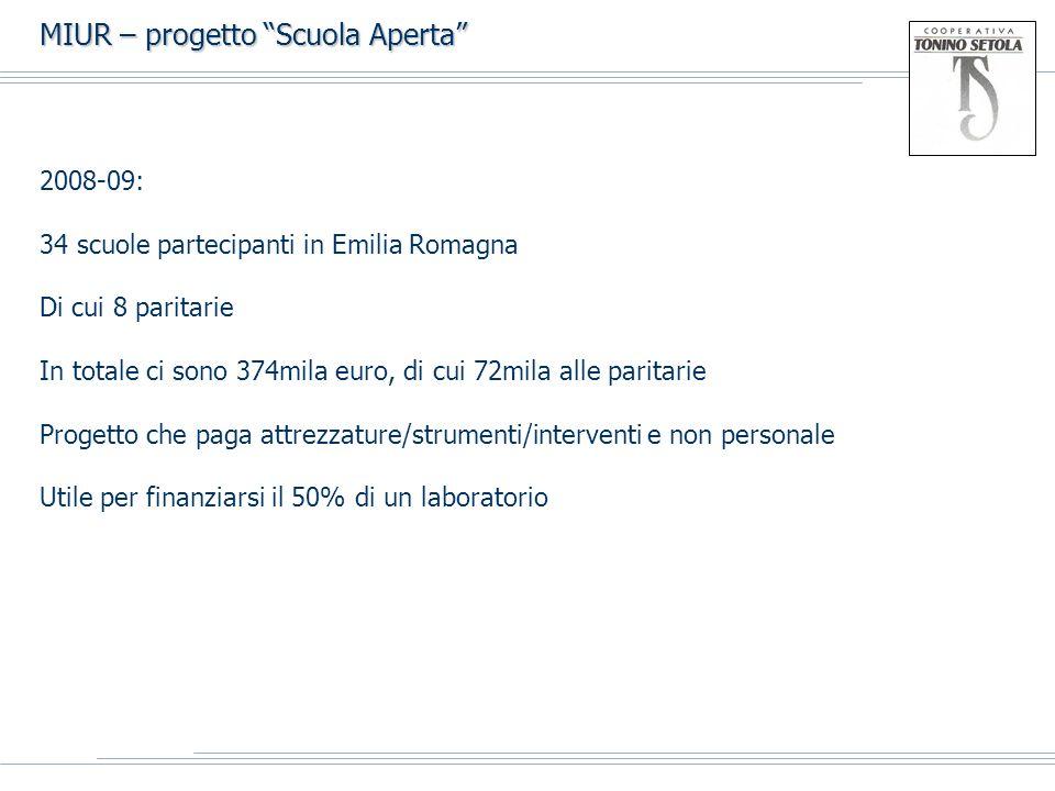 MIUR – progetto Scuola Aperta 2008-09: 34 scuole partecipanti in Emilia Romagna Di cui 8 paritarie In totale ci sono 374mila euro, di cui 72mila alle paritarie Progetto che paga attrezzature/strumenti/interventi e non personale Utile per finanziarsi il 50% di un laboratorio