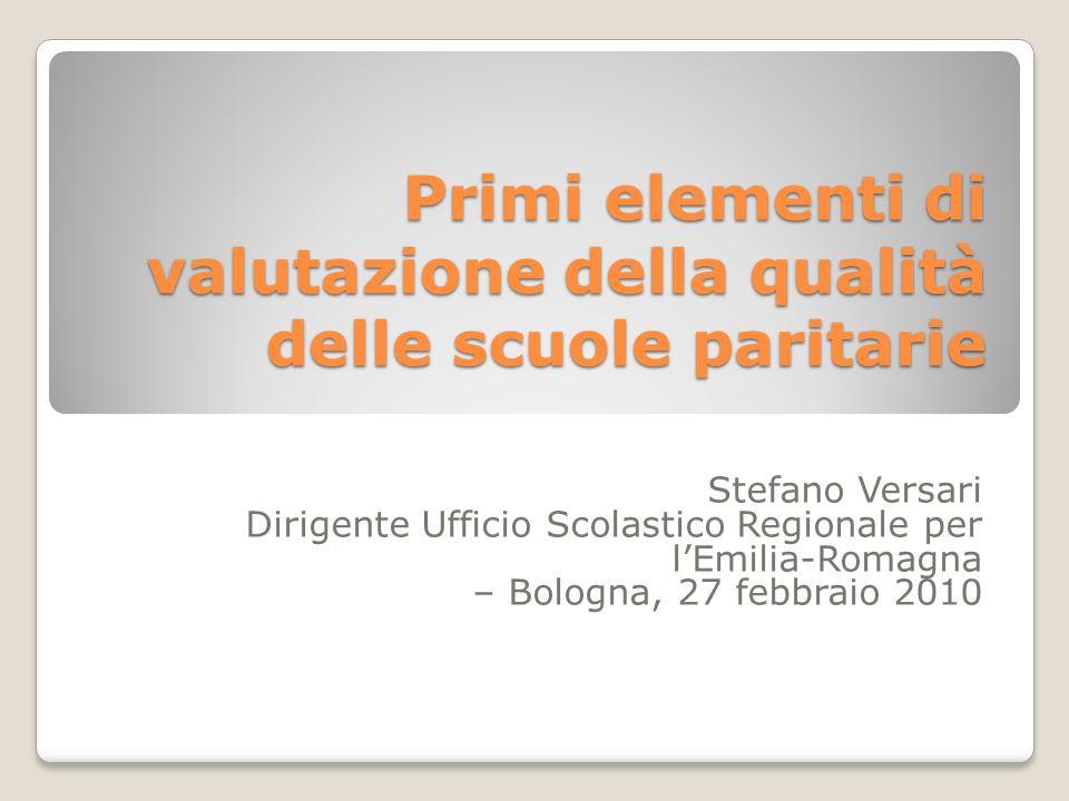 Primi elementi di valutazione della qualità delle scuole paritarie Stefano Versari Dirigente Ufficio Scolastico Regionale per lEmilia-Romagna – Bologn