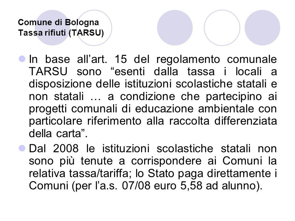 Comune di Bologna Tassa rifiuti (TARSU) In base allart. 15 del regolamento comunale TARSU sono esenti dalla tassa i locali a disposizione delle istitu