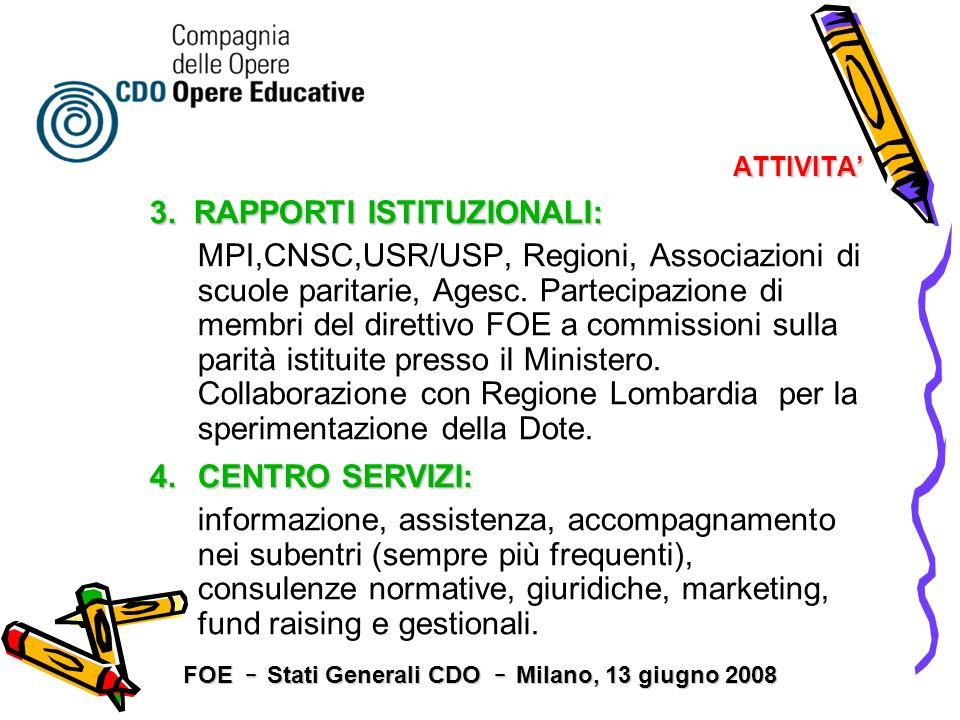 ATTIVITA 3. RAPPORTI ISTITUZIONALI: MPI,CNSC,USR/USP, Regioni, Associazioni di scuole paritarie, Agesc. Partecipazione di membri del direttivo FOE a c